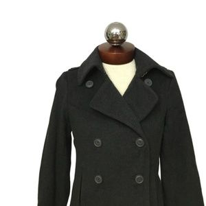 J CREW wool charcoal double breasted peacoat S